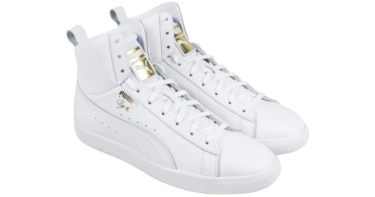 dcd6ba62f8b5 Lyst - PUMA Clyde Mid Core Foil White Mens High Top Sneakers in White for  Men