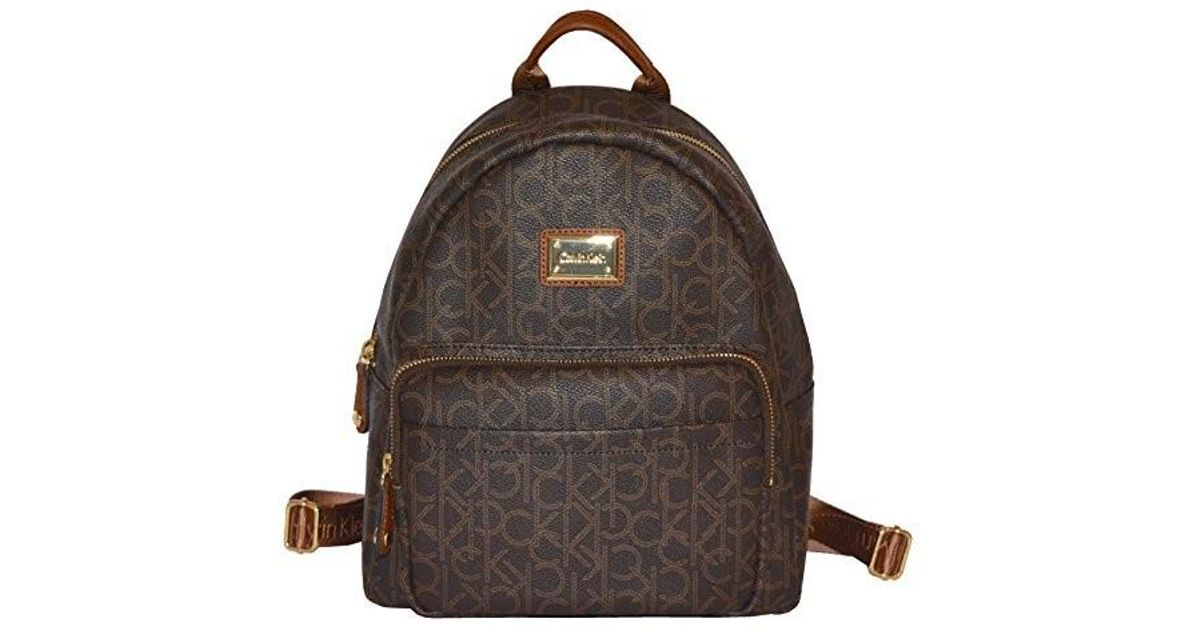 d742d863ed88 Lyst - Calvin Klein Bag Monogram Canvas Backpack Satchel Handbag in Brown
