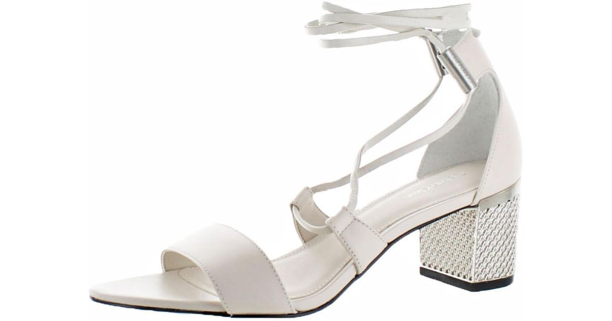 2055037a0b0 Lyst - Calvin Klein Womens Natania Open Toe Textured Dress Sandals in White