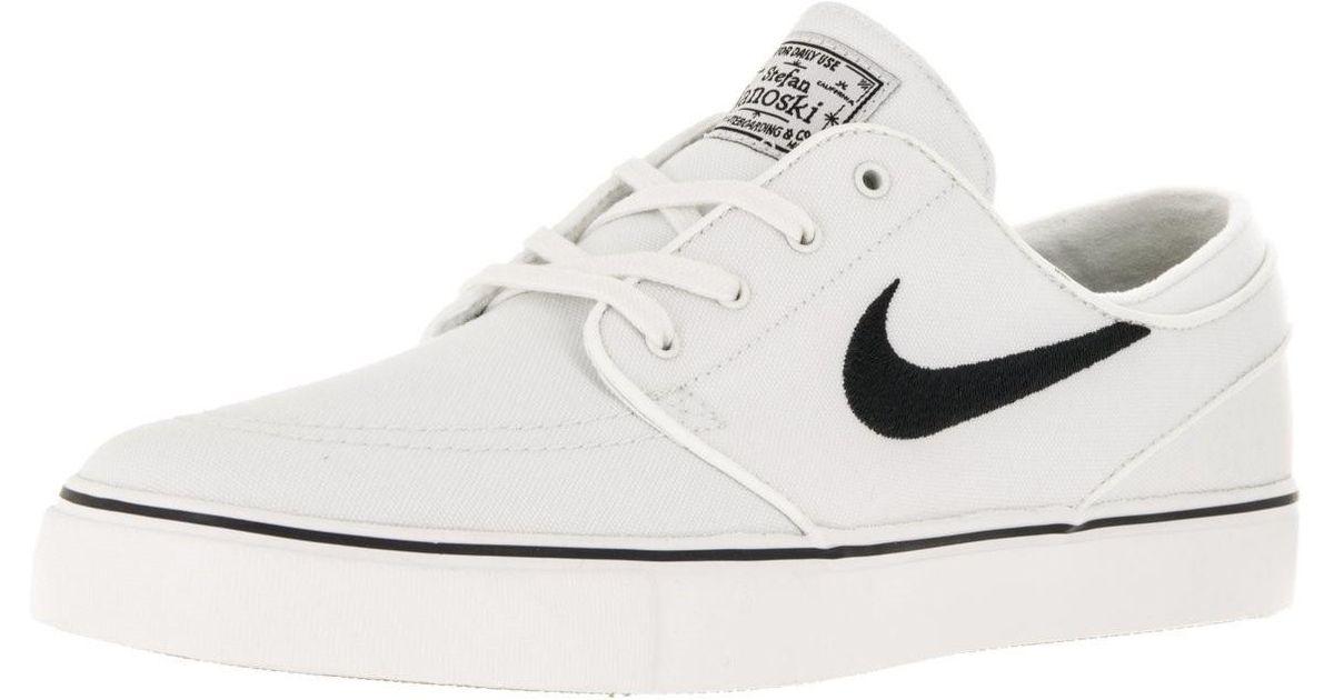separation shoes c5c7f 7d233 Nike 615957-100   Zoom Stefan Janoski Canvas Summit White black Skate Shoe  (8 D(m) Us) in White for Men - Lyst