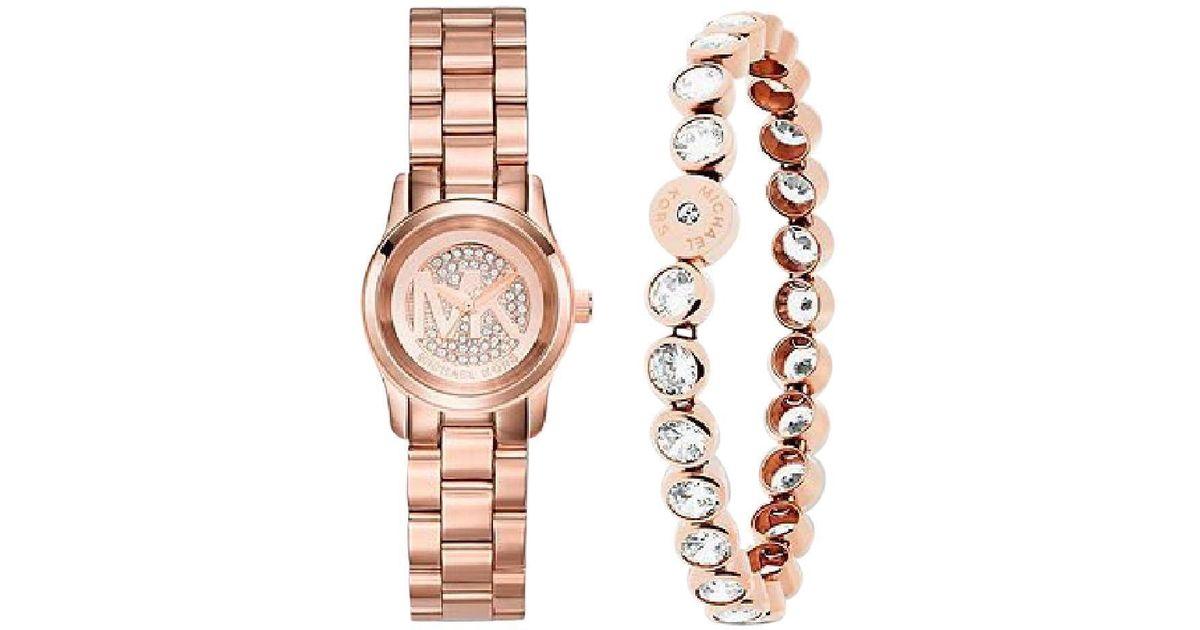 Lyst Michael Kors Mini Pee Rose Gold Tone Watch With Bracelet Mk3670 In Metallic