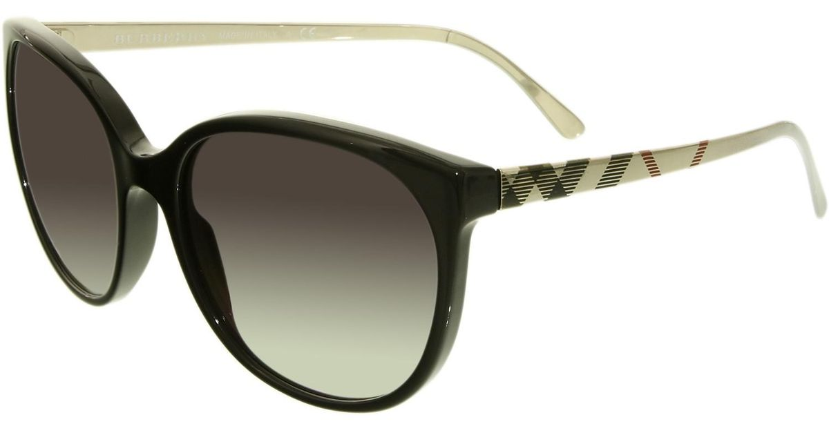 a2d480a9e2f Lyst - Burberry Gradient Be4146-34068g-55 Black Round Sunglasses in Black