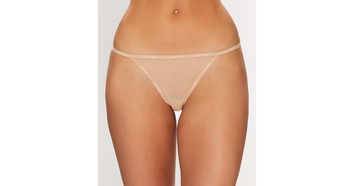 4f73651ed9a Lyst - Calvin Klein Sheer Marquisette G-string in Natural
