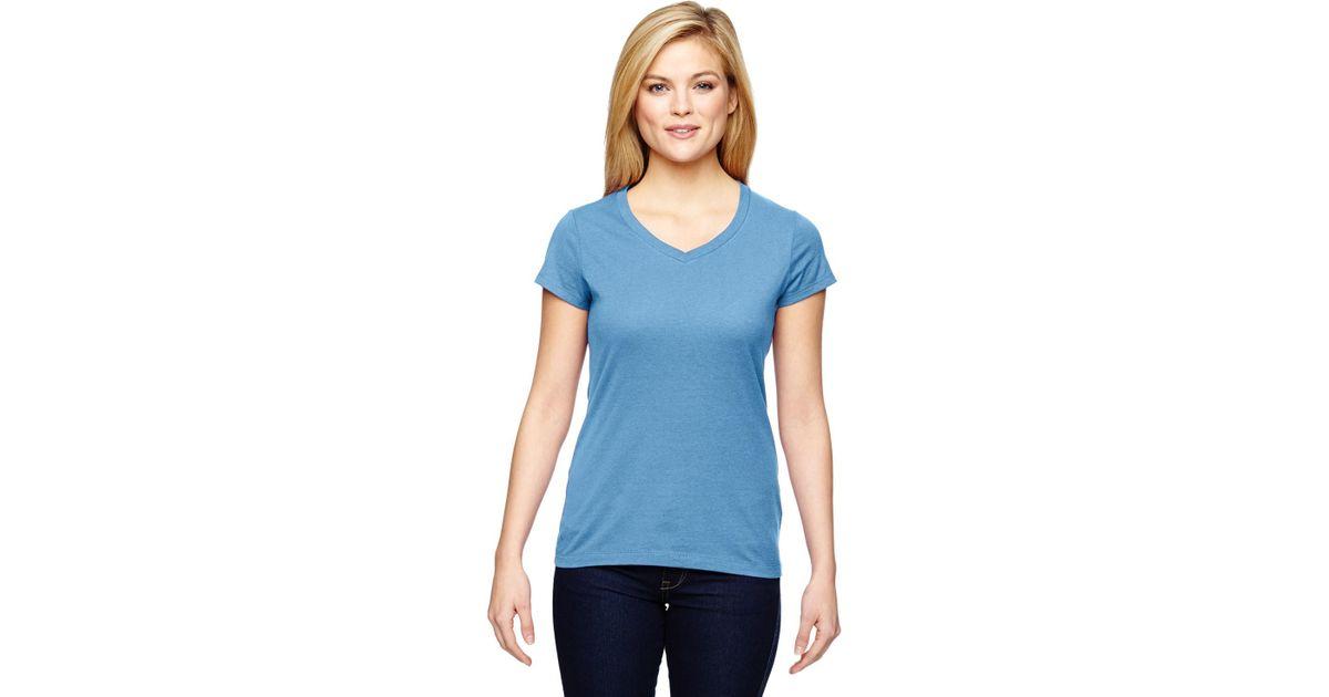 39b764d5 Lyst - Champion T050 Ladies' Vapor Cotton Short-sleeve V-neck T-shirt Sport  Light Blue 3xl in Blue