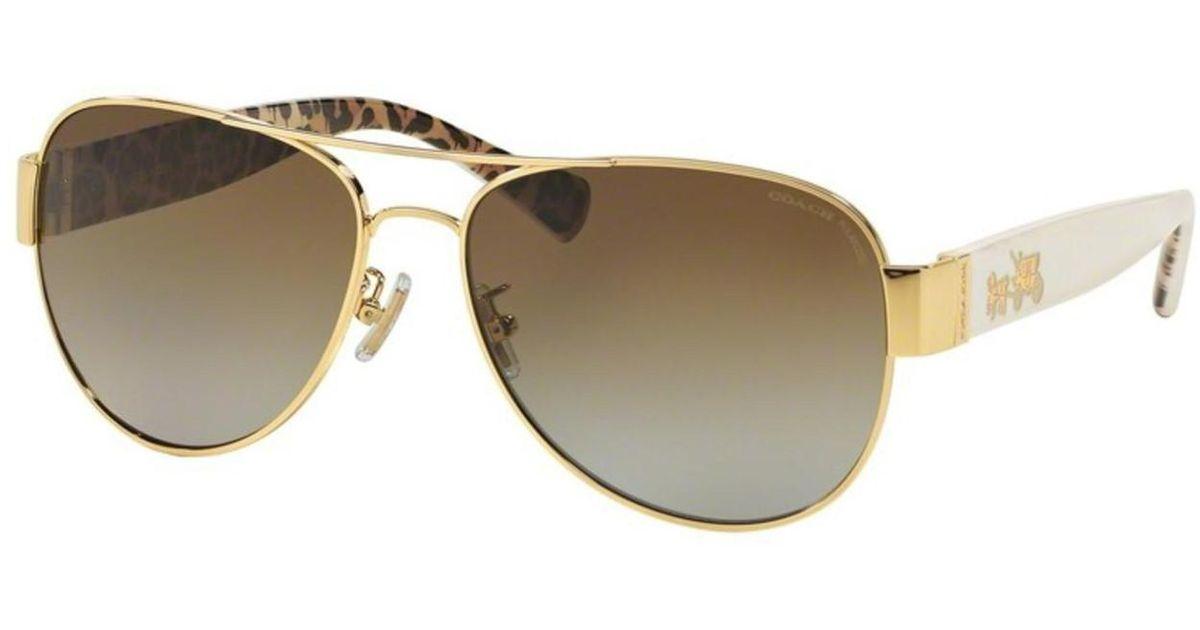4dd08d2a1e Lyst - COACH Hc7059 L138 Sunglasses Gold ivory Wild Beast brown Gradient  Polar (9249t5) 58 15-135 in Metallic