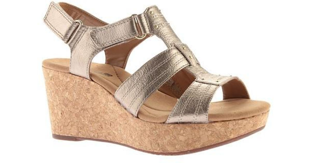 6a08521f6f6 Lyst - Clarks Annadel Orchid Wedge Slingback in Metallic
