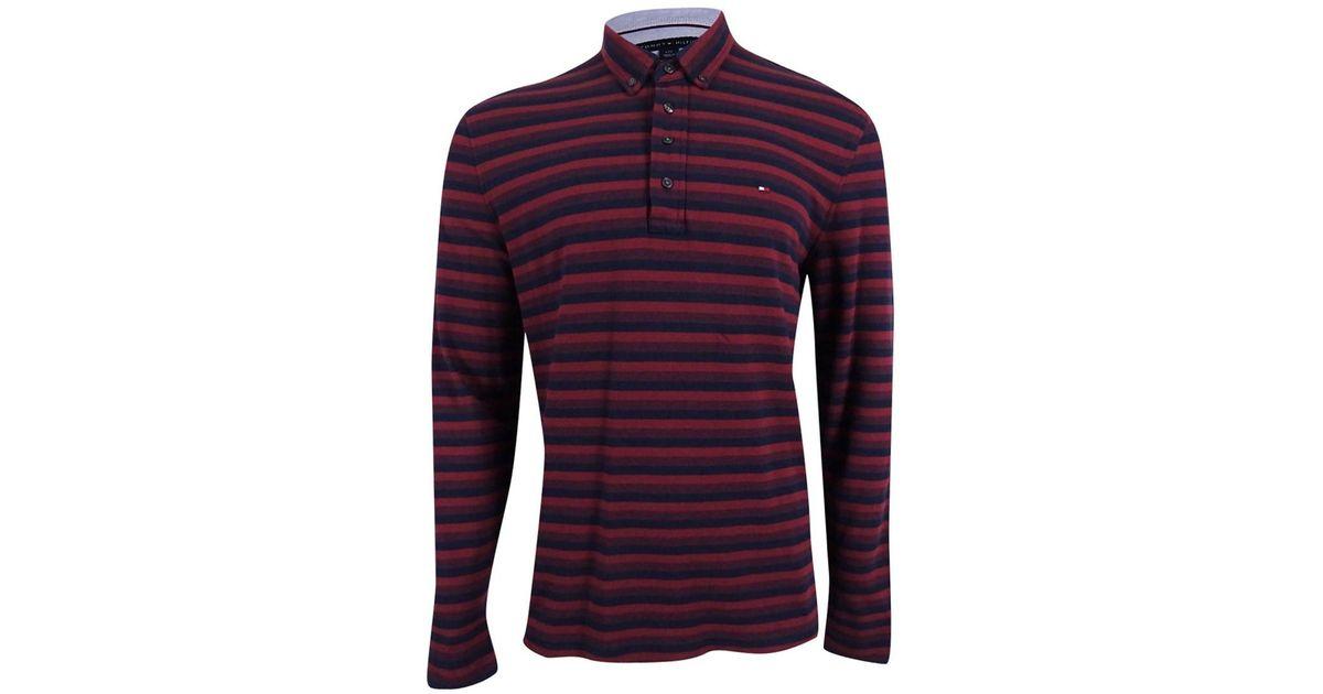 5baee0641e Lyst - Tommy Hilfiger Vanderbilt Striped Pique Long-sleeve Polo in Purple  for Men