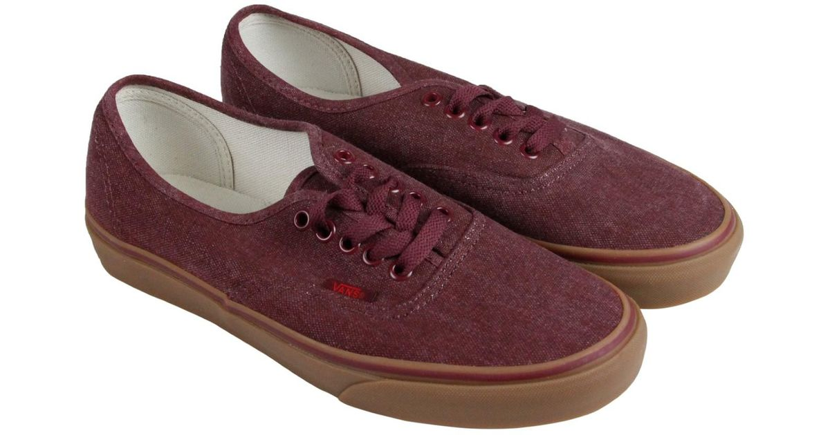 8b0ee300f4 Lyst - Vans Authentic Washed Canvas Port Royale Gum Mens Lace Up Sneakers  in Brown for Men