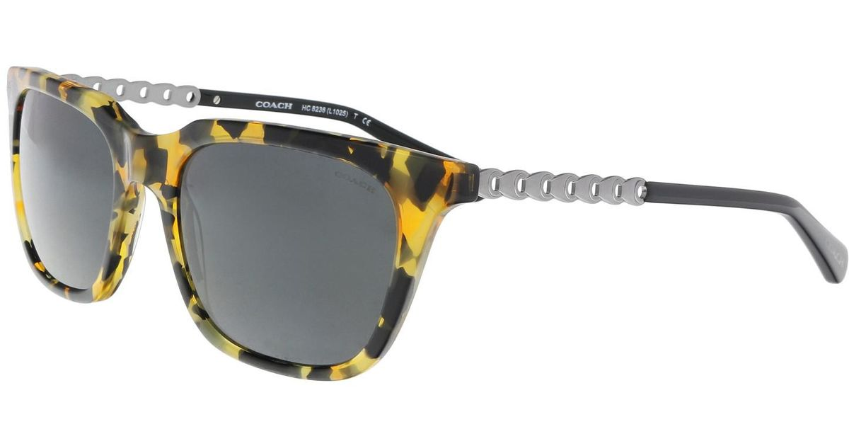 2ea78557e85e Lyst - COACH Hc8236 538887 Honey Mosia Rectangle Sunglasses