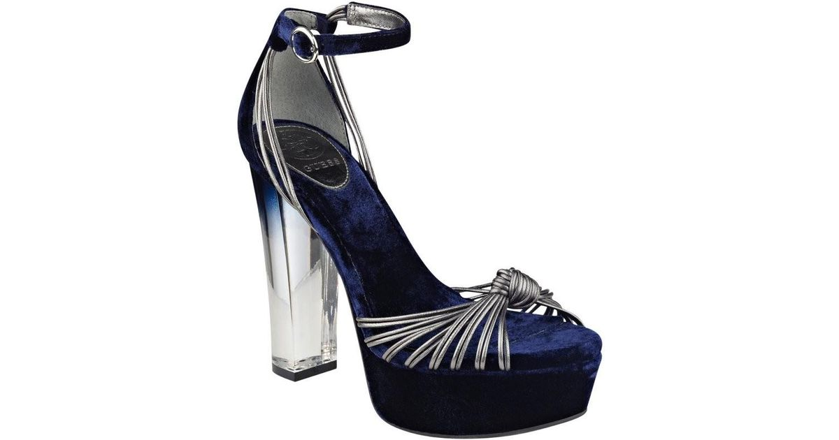 26879c5a17b3 Lyst Guess Peakabo Lucite Platform Heels In Blue