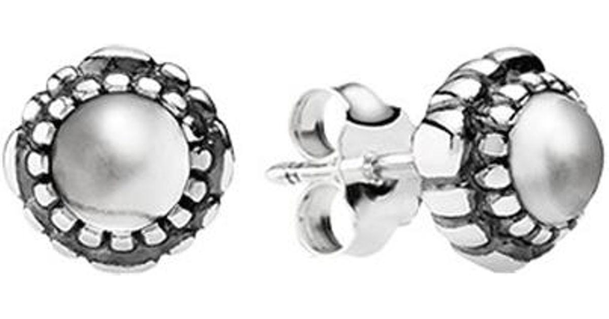 Lyst Pandora Silver Rock Crystal April Birthstone Stud Earrings In Metallic