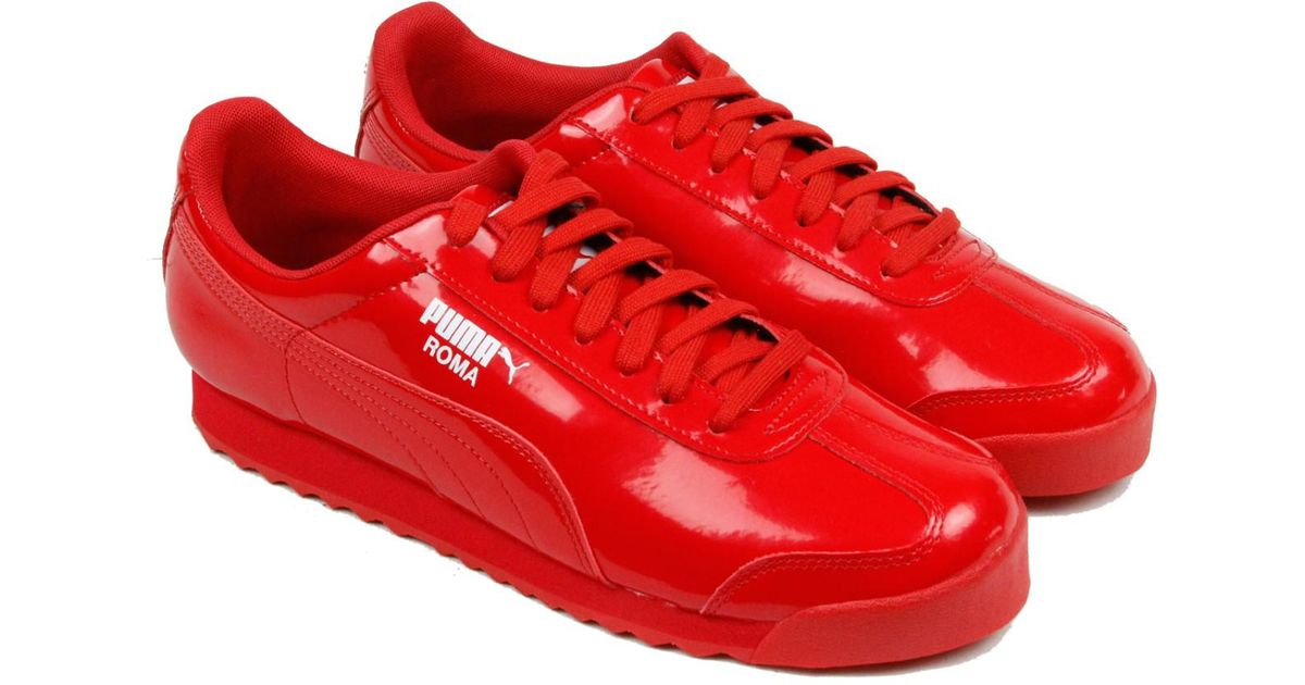 558464de6ac6 ... Lyst - Puma Roma Patent High Risk Red White Mens Lace Up Sneakers in  Red for ...