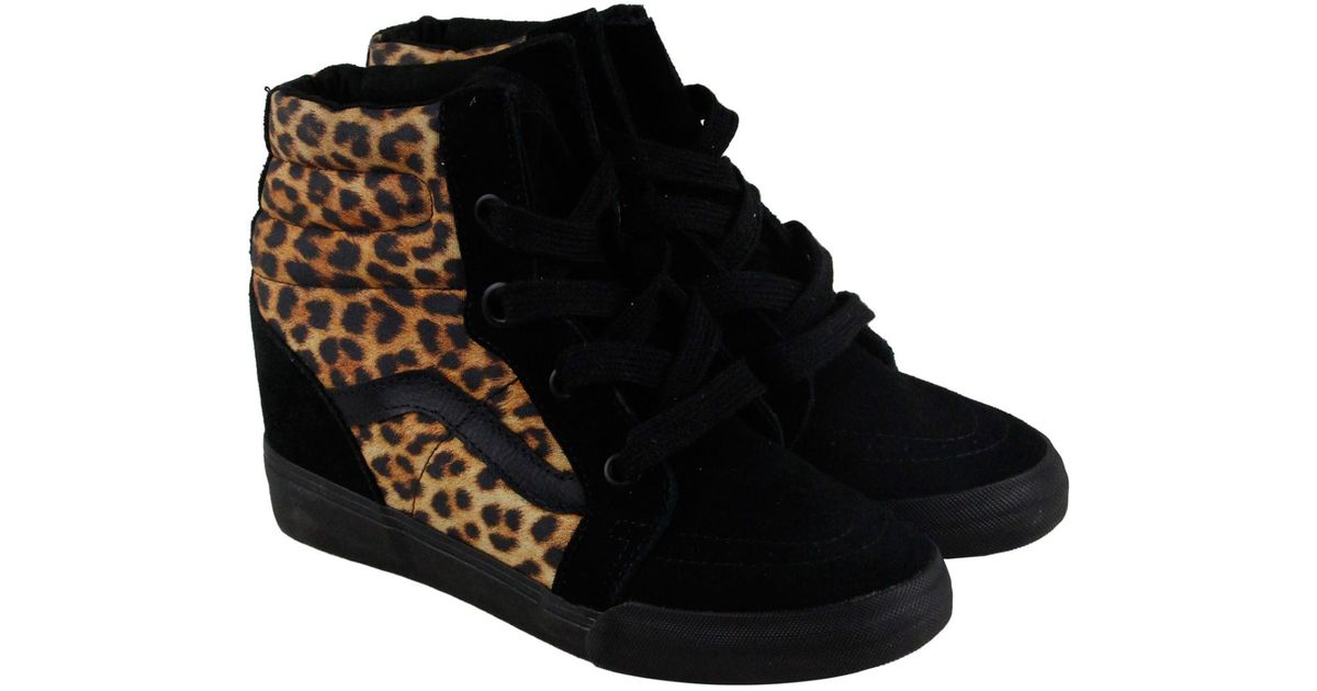 2186d15558 Lyst - Vans Sk8 Hi Wedge Leopard High Top Sneakers in Black