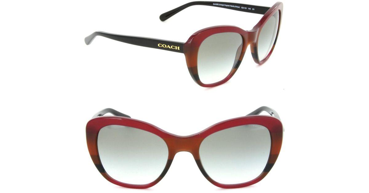 c89522d16570 Lyst - COACH Hc8204 54458e Cat Eye Sunglasses Aubgn Cognac Varsity Stripe/green  Gradient Lens in Brown