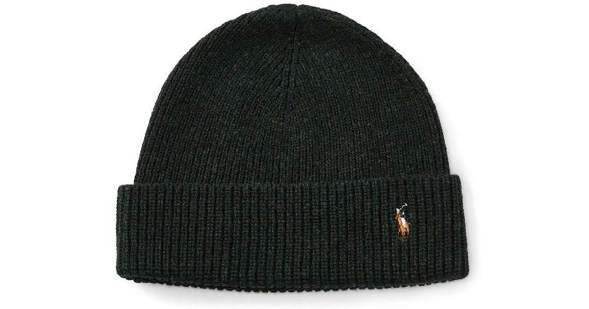 4ab63844b72ee Lyst - Polo Ralph Lauren Merino Wool Watch Cap in Black for Men