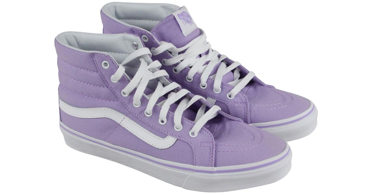 Lyst - Vans Sk8 Hi Slim Lavender True White High Top Sneakers in Purple ce2c2a36de
