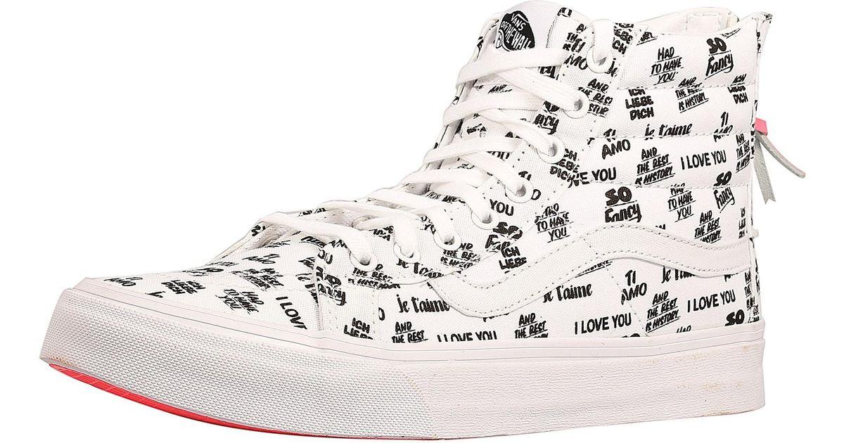 2c6a6d4542 Lyst - Vans Sk8-hi Slim Zip Women Us 9 White Sneakers in White
