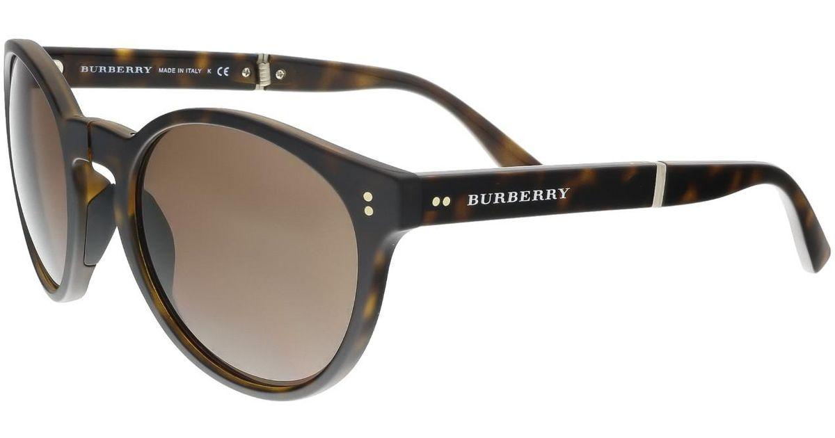 0d65eb264c Lyst - Burberry Be4221 35365w Dark Havana Round Foldable Sunglasses in Brown