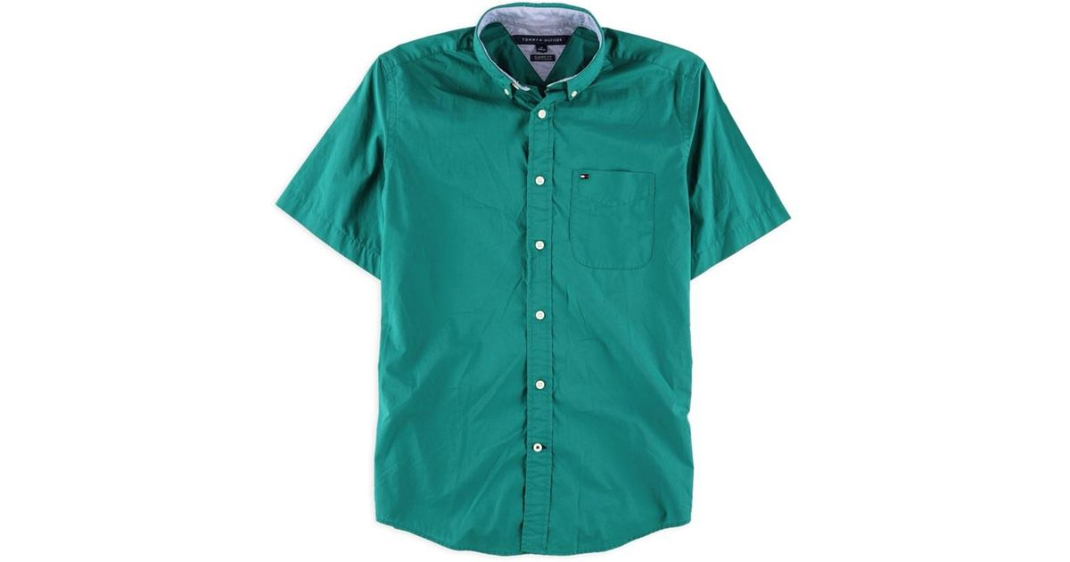5eaf54289 Lyst - Tommy Hilfiger Maxwell Short Sleeve Button Up Shirt Green S in Green  for Men
