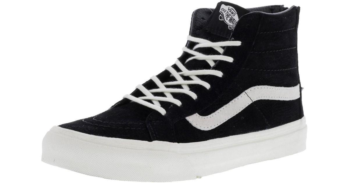 f0f67f0f256183 Lyst - Vans Sk8-hi Slim Zip Lizard Emboss Black   Blanc De High-top  Skateboarding Shoe - 7m 5.5m in Black