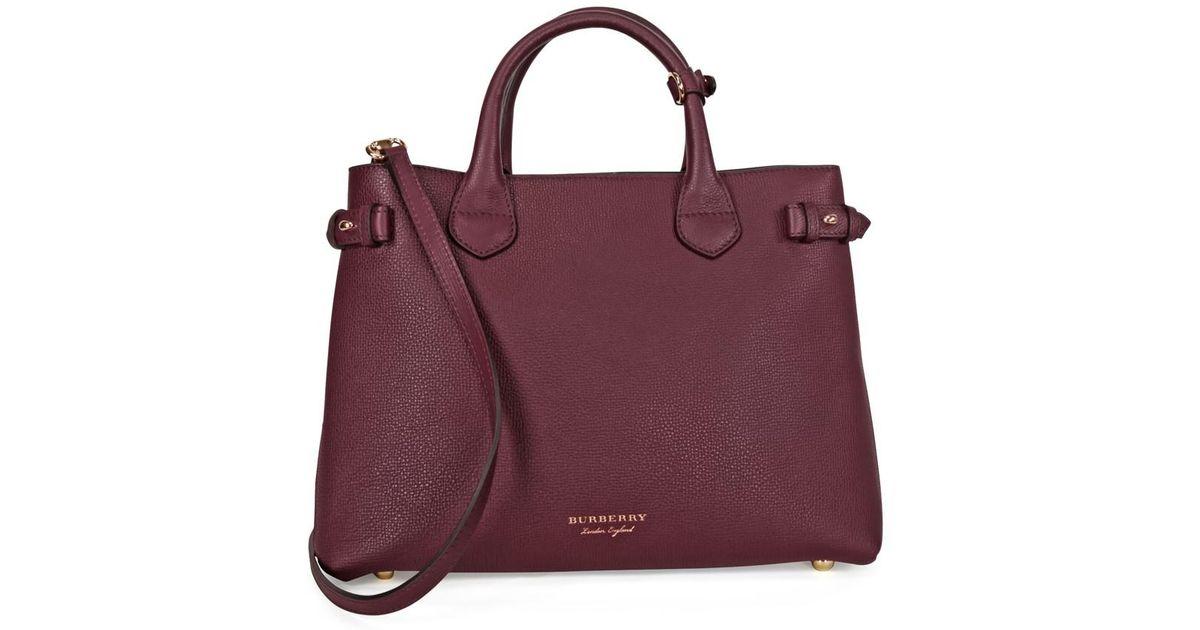 Lyst - Burberry A The Medium Banner Leather House Check Handbag - Mahogany  Red in Purple b3ca7865db