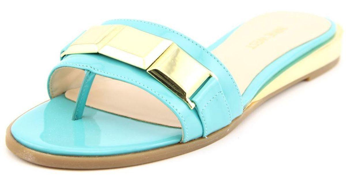 07870ad2d221 Lyst - Nine West Xtina Women Us 6 Blue Thong Sandal in Black