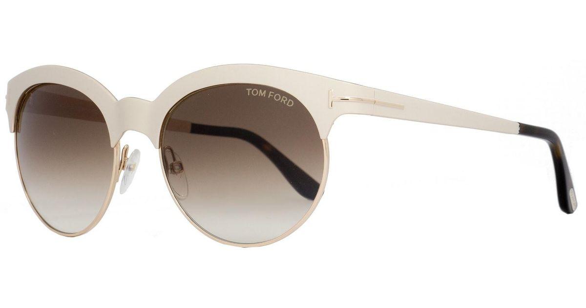 33cac305c72ed Lyst - Tom Ford Oval Sunglasses Tf438 Angela 28f Ivory gold havana Ft0438