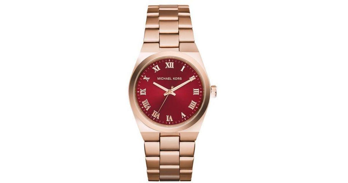 f14786ff7fb8 Lyst - Michael Kors Channing Mk6090 Rose Gold red Analog Quartz Watch