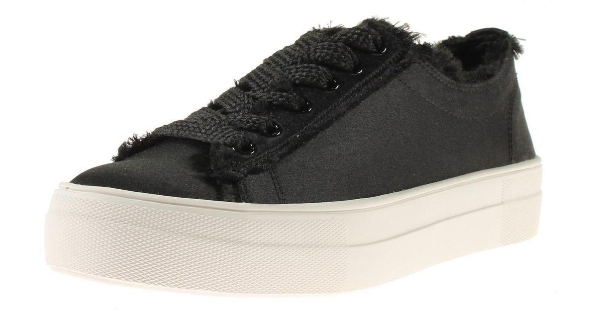 b7b55513cbd Lyst - Steve Madden Greyla Satin Frayed Trim Fashion Sneakers in Black