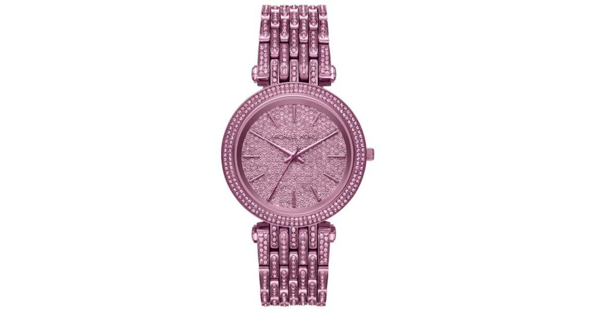 68f218389c72 Lyst - Michael Kors Darci Plum Ip Analog Watch in Purple