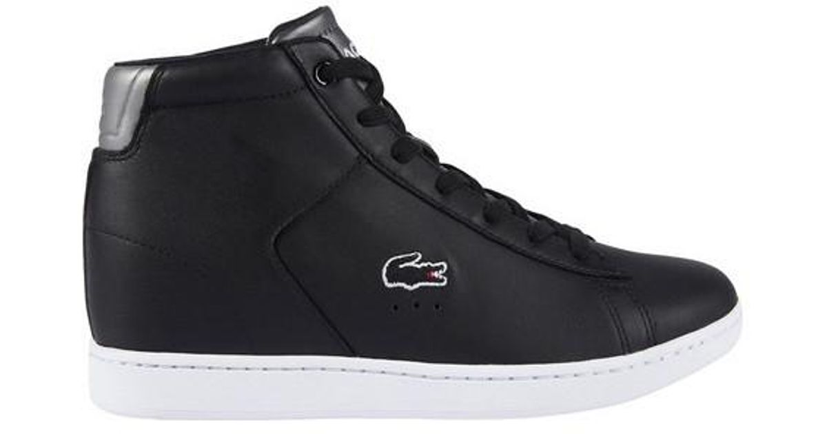 5328ecb42f92c Lyst - Lacoste Carnaby Evo Wedge 3 High Top in Black