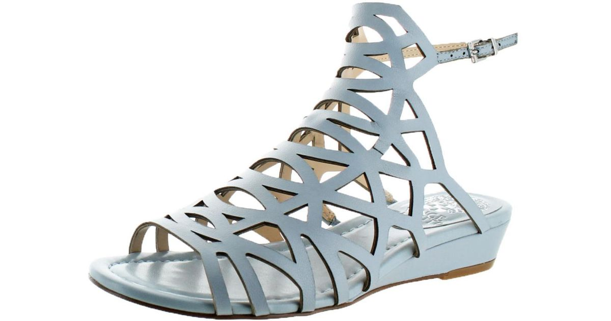 19464d315 Lyst - Vince Camuto Illana Leather Strappy Slingback Caged Sandal Shoes in  Blue - Save 15%