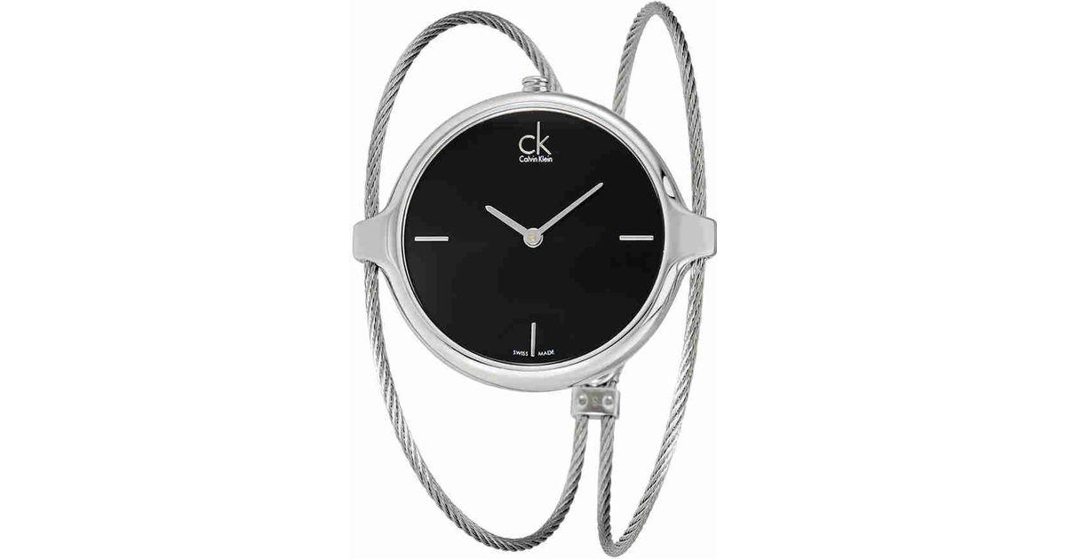 87aa302400e Lyst - CALVIN KLEIN 205W39NYC Agile Black Dial Bangle Ladies Watch K2z2s111  in Black