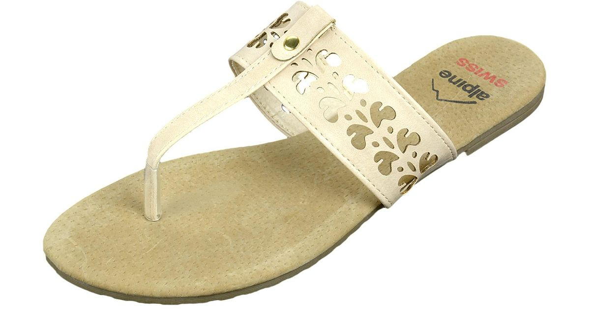 93398aa1ea4 Lyst - Alpine Swiss Womens Suede Sandals Floral Cut Out Faux Leather T-strap  Flip Flops in Natural