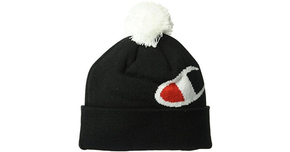 Lyst - Champion Unisex C Knit Pom Pom Beanie in Black for Men a7c1dd74f9b