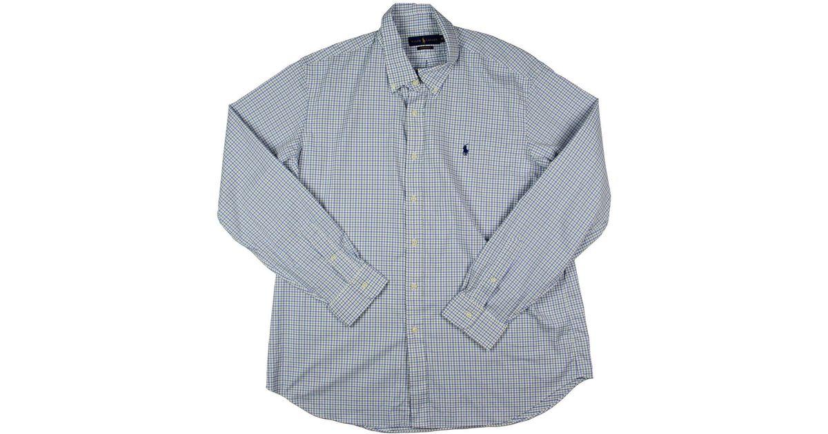 286f847d6 shop lyst polo ralph lauren mens checkered long sleeves button down shirt  in blue for men