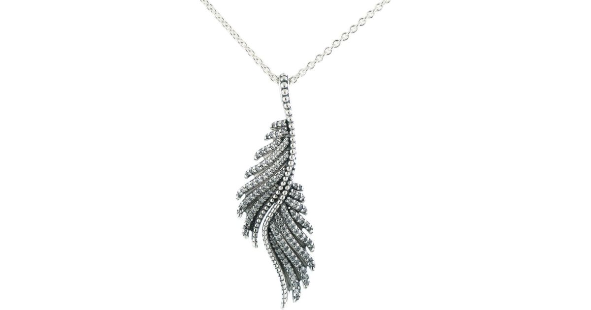 69863e4bf1a3b Pandora - Metallic Authentic Majestic Feathers Necklace Pendant - Lyst