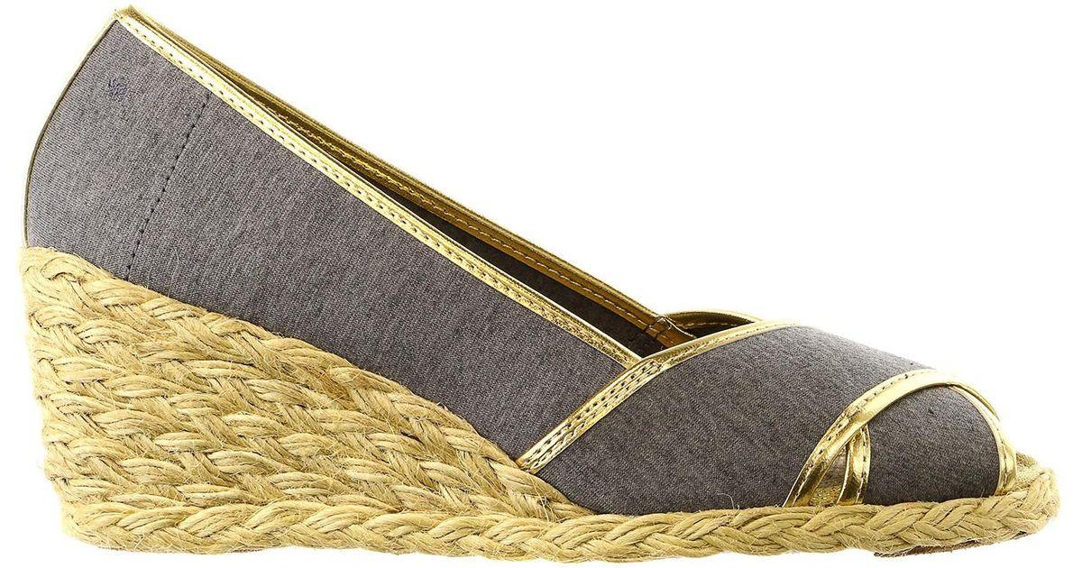 d52a13eedbea Lyst - Lauren by Ralph Lauren Cecilia Ii Espadrille Wedge Sandal Shoe in  Metallic