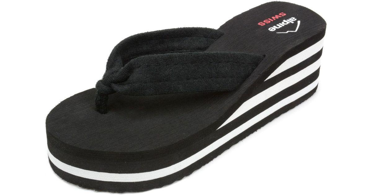5dc5407e7 Lyst - Alpine Swiss Womens Flip Flops Sandal Soft Terrycloth Thongs  Platform Wedge Heel in Black