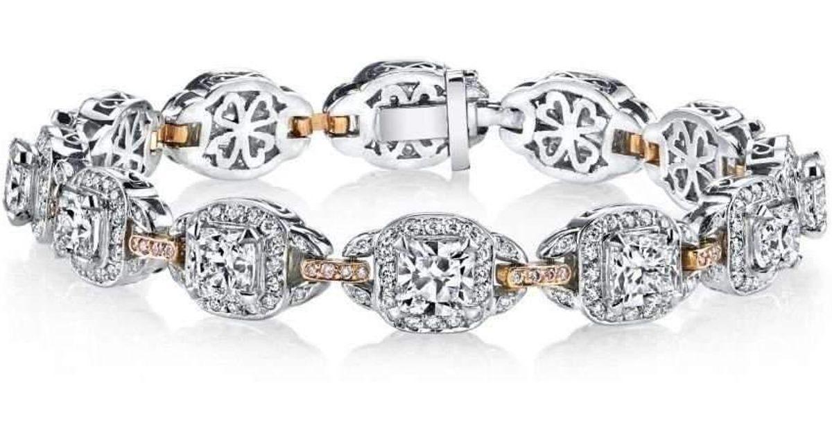 Harry Kotlar Kotlar Cushions with white & pink diamonds pave link Bracelet M6G8PKG