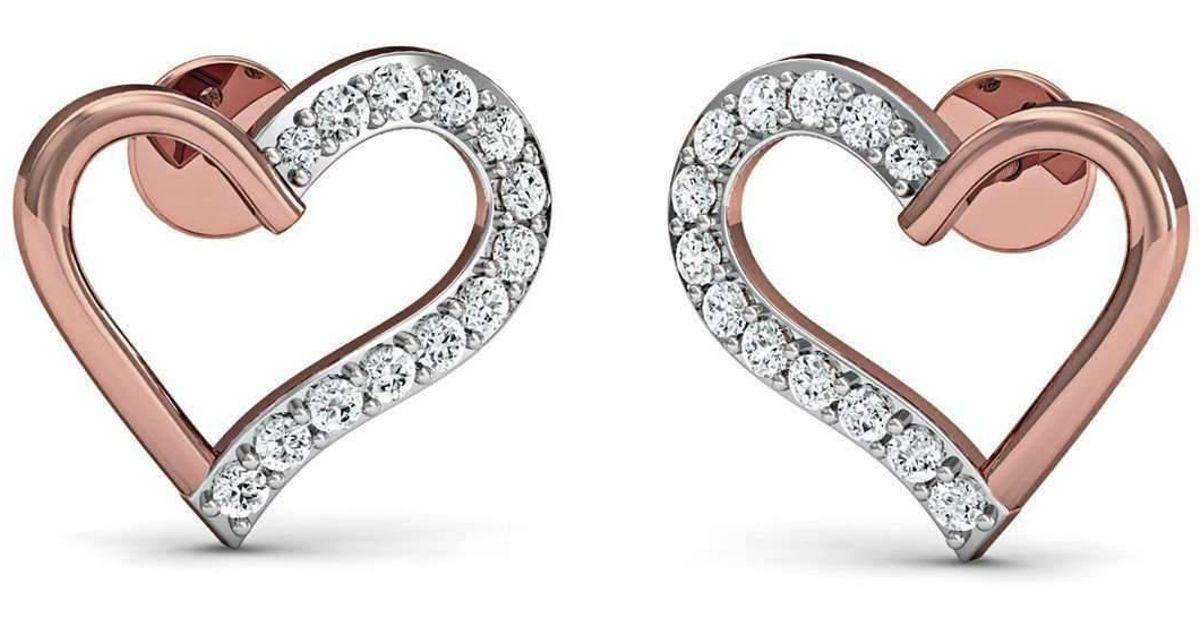 Diamoire Jewels Heart Shaped 18kt White Gold Pave Diamond Earrings jnvIMfgO
