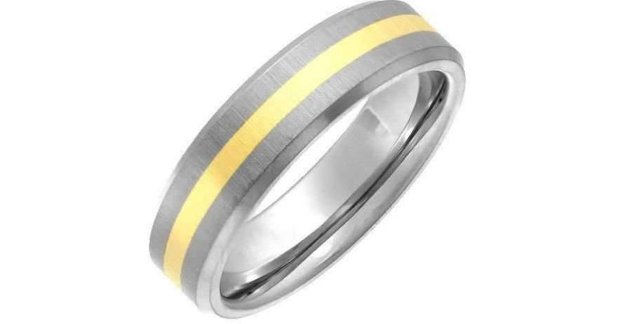 Lyst Star Wedding Rings Titanium And 9kt Yellow Gold Inlay Flat