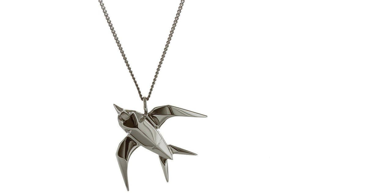 Origami Jewellery Black Silver Swallow Origami Necklace hfqYJg9