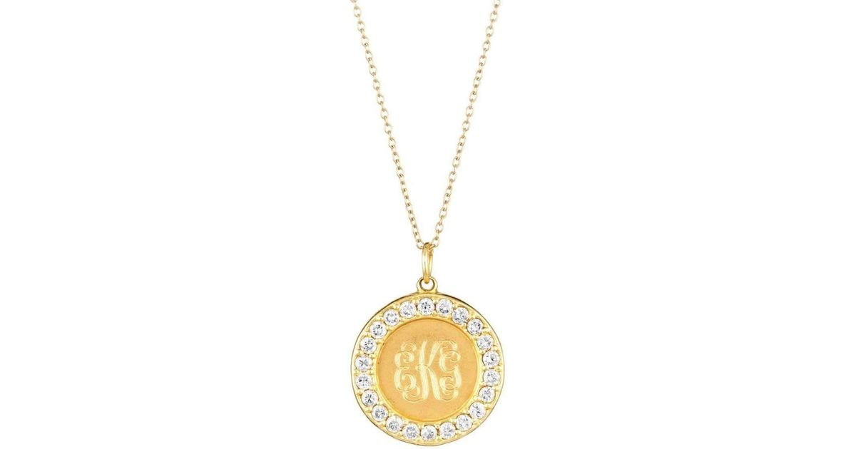 Emily & Ashley Classic Charm Disc with Pink Sapphires Necklace pjHX6qX0h3