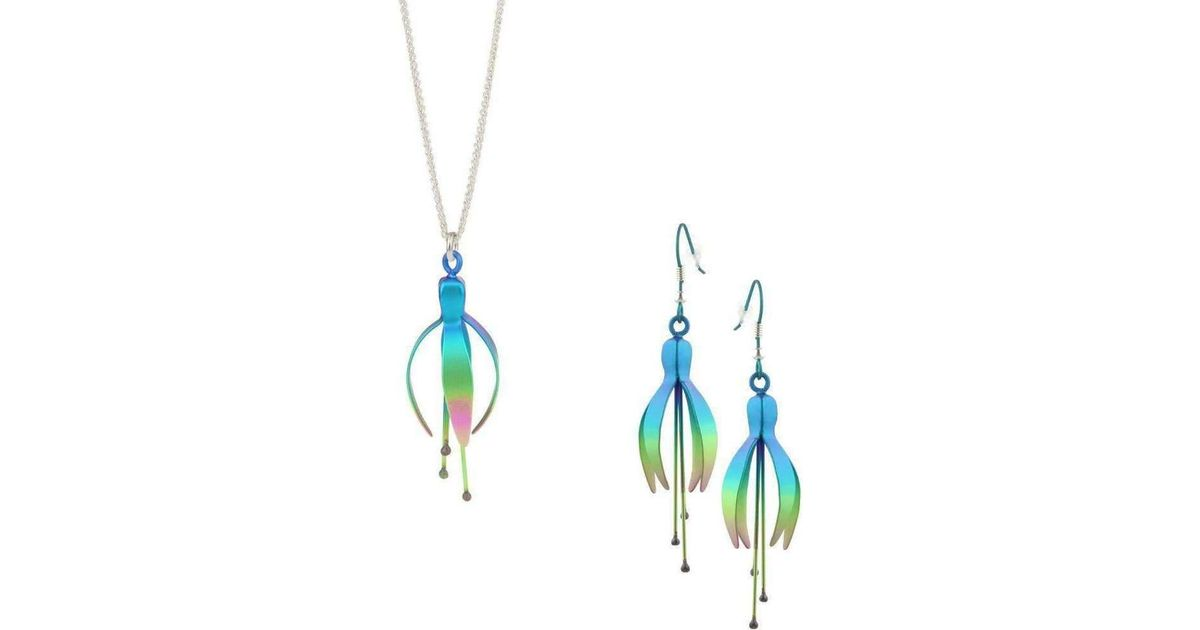 a6bccc7fae595 Prism Design Multicolor Fuchsia Green Earrings And Necklace Set