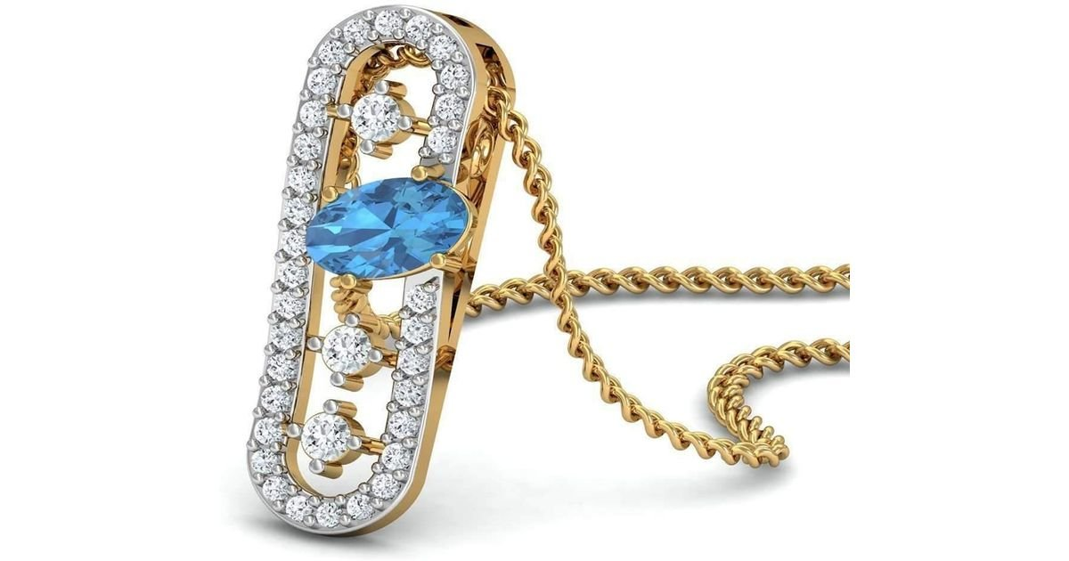 Diamoire Jewels Nature Inspired Oval Aquamarine Pendant with Premium Diamonds in 10kt Yellow Gold 1xOaGY