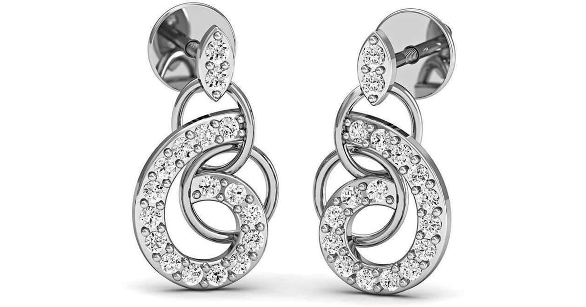 Diamoire Jewels Pave-Prong Diamond and 14kt White Gold Earrings Inspired by Nature HbooNHQ