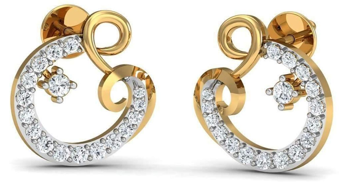 Diamoire Jewels Hand-carved 14kt Yellow Gold and Premium Quality Diamond Earrings GYabb