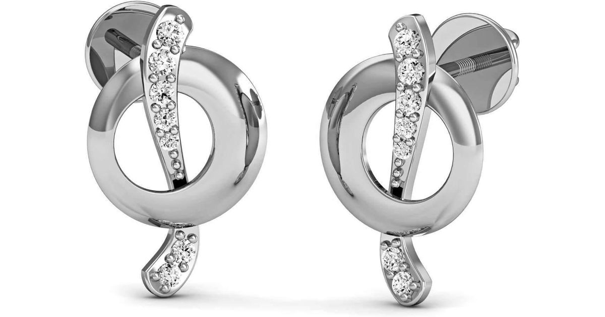 Diamoire Jewels Pave-Prong Diamond and 10kt White Gold Earrings Inspired by Nature a14ec3YXm