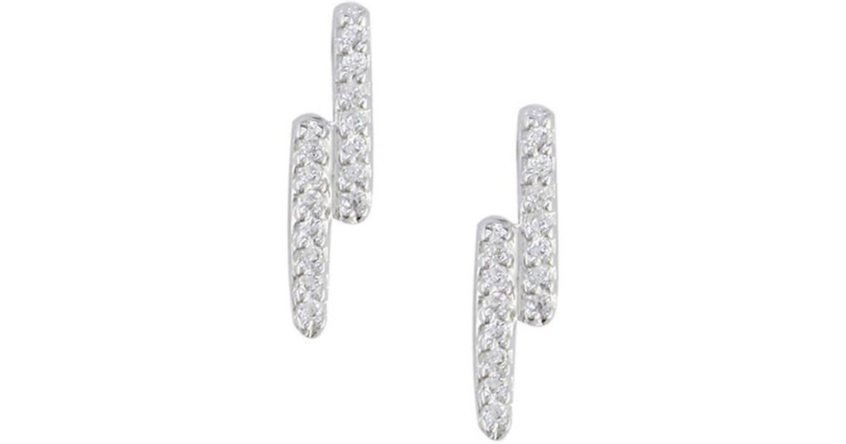 London Road Jewellery White Gold Diamond Geo Kiss Stud Earrings 30lK6Qrxy